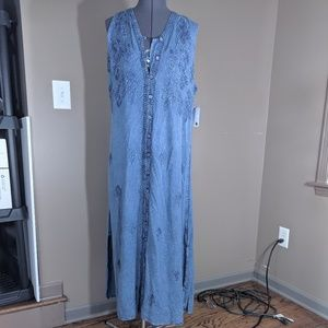 NorthStyle Button Down Jean Maxi Dress Size L